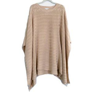 NEW New York & Co Pink Knit Poncho Sweater L XL